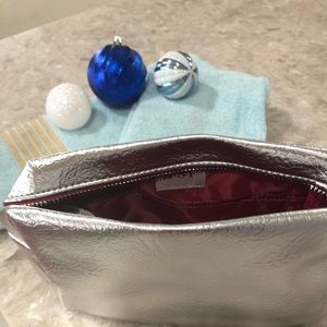 Large silver make up bag with inside pocket